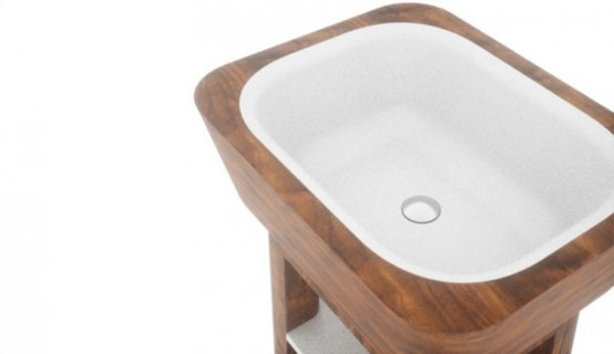 Elegant Bathroom Appliances And Furniture With Wooden Inserts
