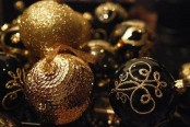 gorgeous black and gold Christmas ornaments with various patterns and sequins is a lovely and bold idea for a Christmas or a NYE