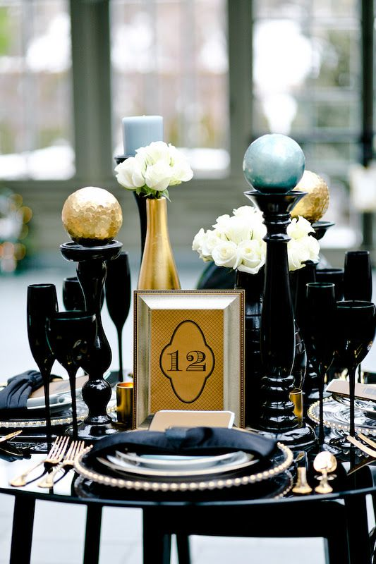 Black And Gold Wedding Centerpiece Ideas The Image Kid Has It