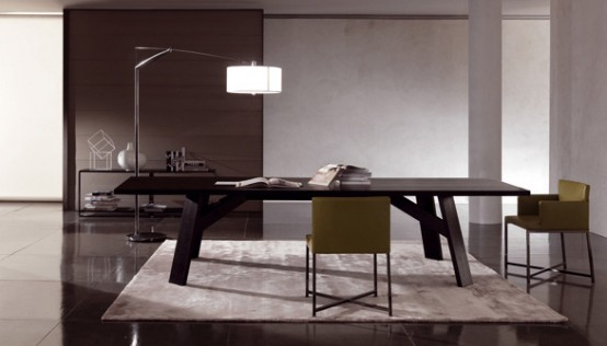 Elegant Dark Wooden Table Clark By Minotti