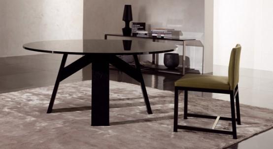 Elegant Dark Wooden Table Clark By Minotti
