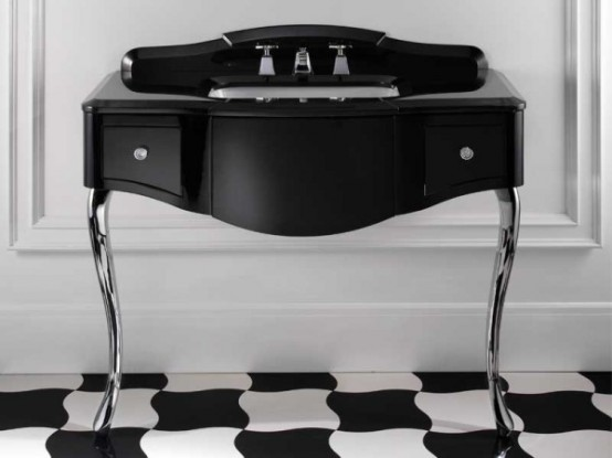 Elegant Furniture For Black And White Bathroom By Devon