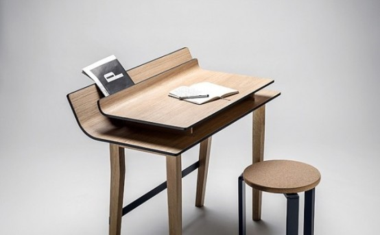 Elegant Listy Desk With Storage Space Between The Tops