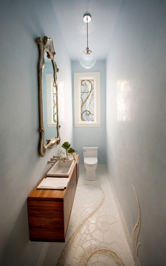 Small And Elegant Powder Room Design Part 33