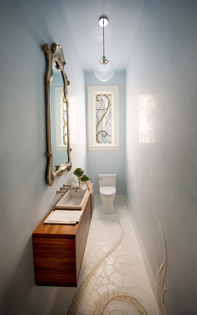 Small and elegant powder room design digsdigs for Very small space bathroom design