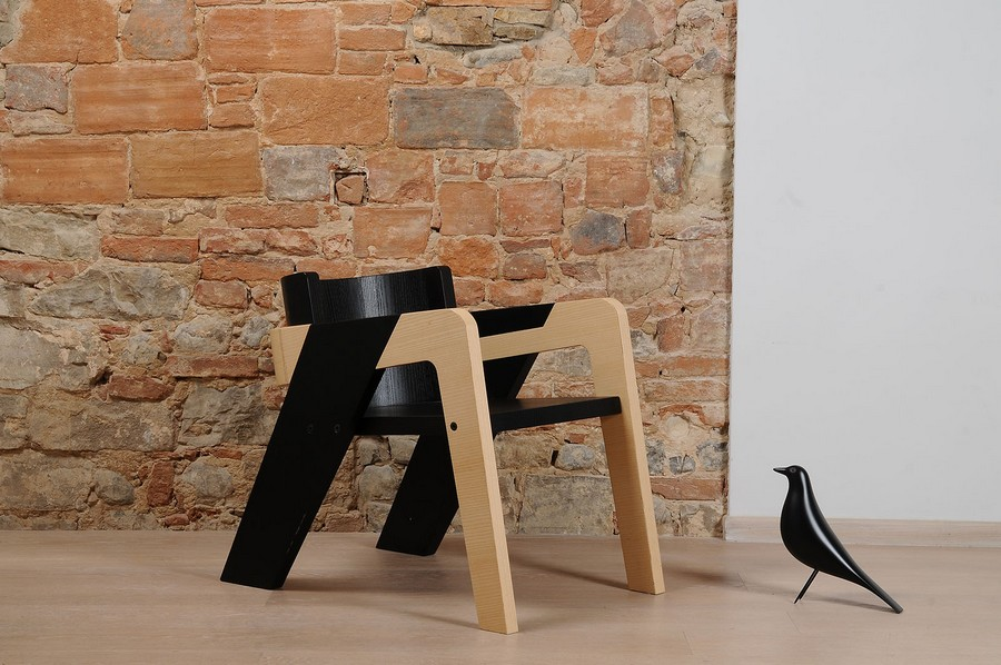 Elegant Self-Assembly IO Chair From Two-Toned Wood
