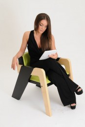 Elegant Self Assembly Io Chair From Two Toned Wood