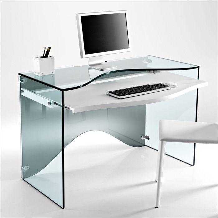 Elegant transparent glass desk strata by tonelli digsdigs - Small computer table design ...