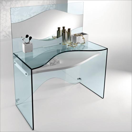 Elegante Transparent Glass Desk Strata By Tonelli