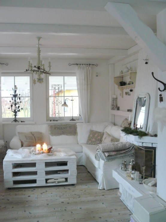 37 enchanted shabby chic living room designs digsdigs - Chic country house architecture with adorable interior design ...