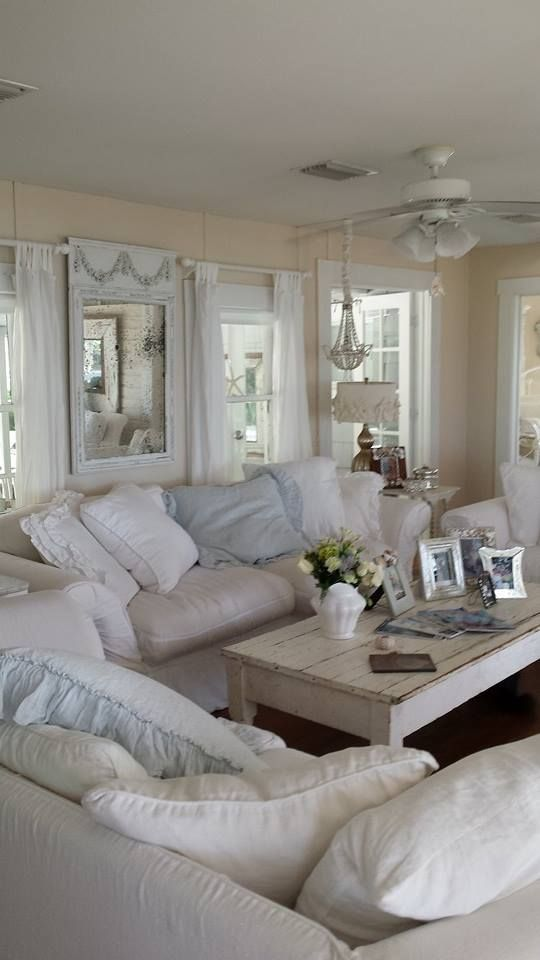 Shabby chic blue living room modern house - Trendy living room designs ...