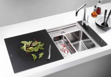 Minimalist Kitchen Sinks With Movable Cutting Board And Retractable Faucets Digsdigs