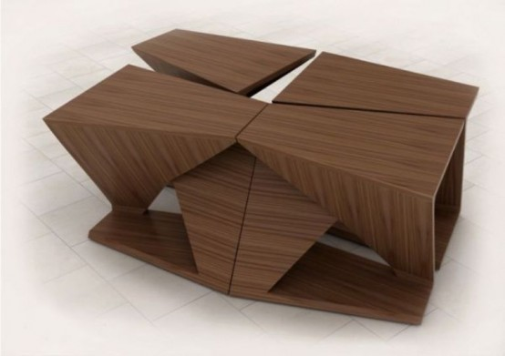 Ergonomic Coffee Table With Four Separate Parts
