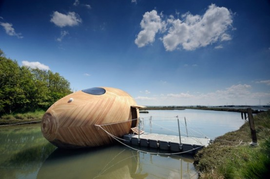 Exbury Egg Acquatic Pod For Ultra-Minimal Living On Water