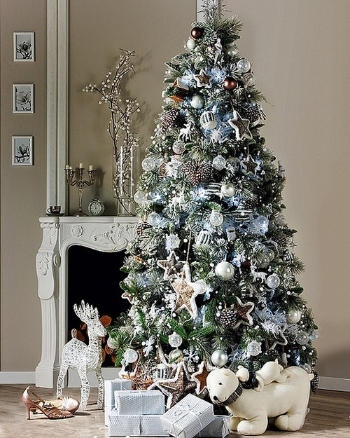 White christmas tree with blue and green decorations - photo#10