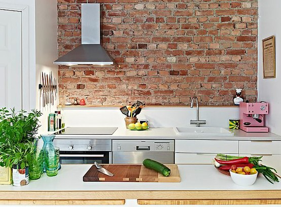 Faking brick walls is a quite popular idea for Scandinavian interiors.