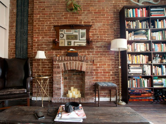 69 cool interiors with exposed brick walls digsdigs Brick fireplace wall decorating ideas