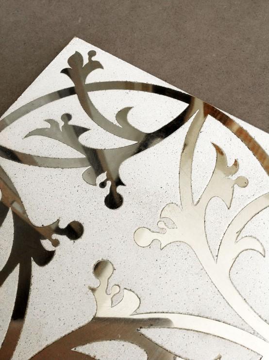 Exquisite concrete tiles with metal patterns digsdigs - Metallic fliesen ...