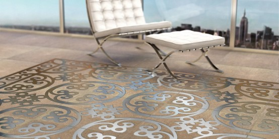 Exquisite Concrete Tiles With Metal Patterns