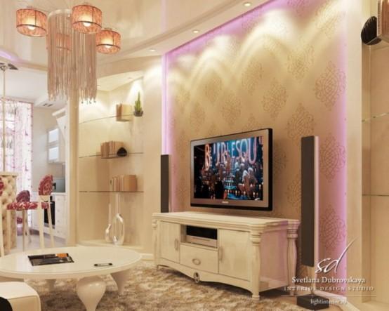 Exquisite Feminine Apartment Decorated With Pure Taste