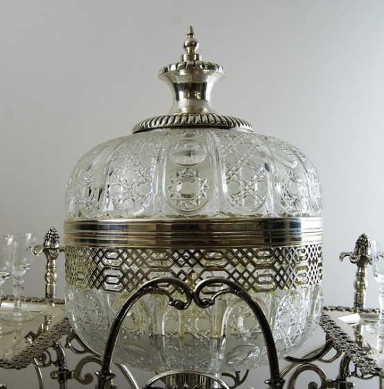 Exquisite Silver And Crystal Bar Trolley