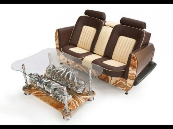 Exquisite Sofas And Coffee Tables With Car Parts