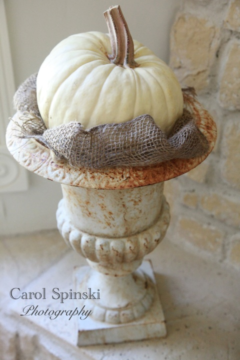 a vintage urn with a white pumpkin in burlap is a gorgeous outdoor decoration for a touch of shabby chic