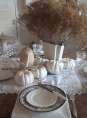 white lace linens, white pumpkins and dried blooms for a coastal fall tablescape