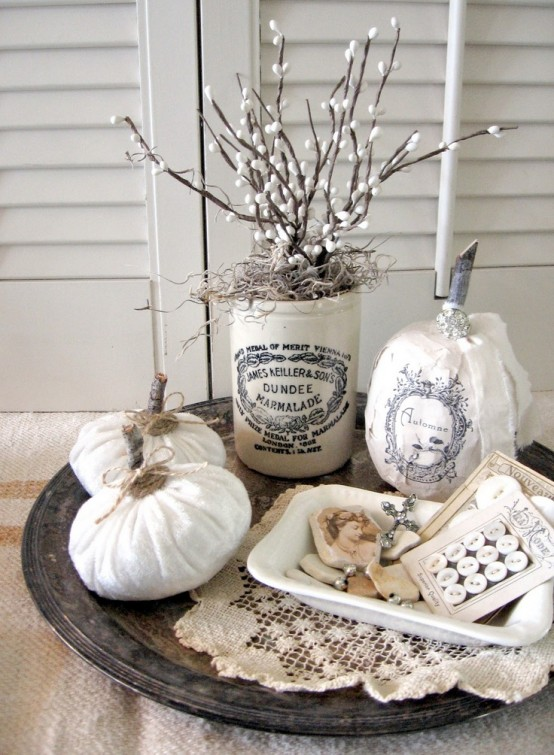 a tray with a lace doily, paper and fabric pumpkins, faux willow in a tin for a shabby chic decoration in the fall