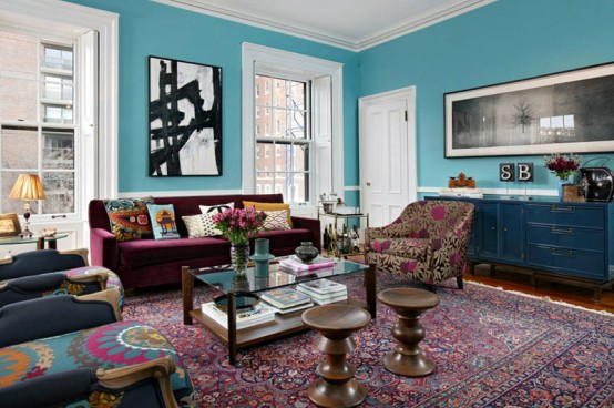 Eye-Catching Colorful Townhouse With Lots Of Patterns In Decor