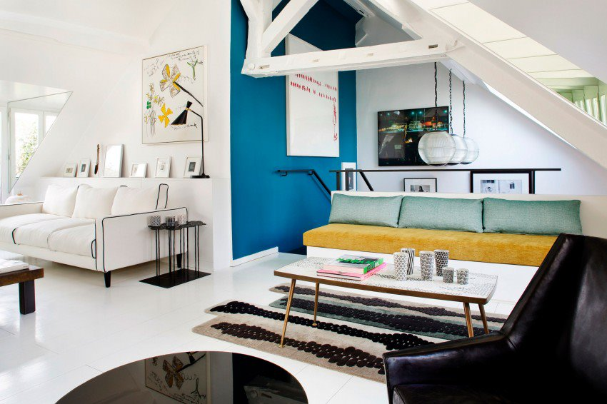 Picture Of eye catchy black and white apartment with bold accents  1