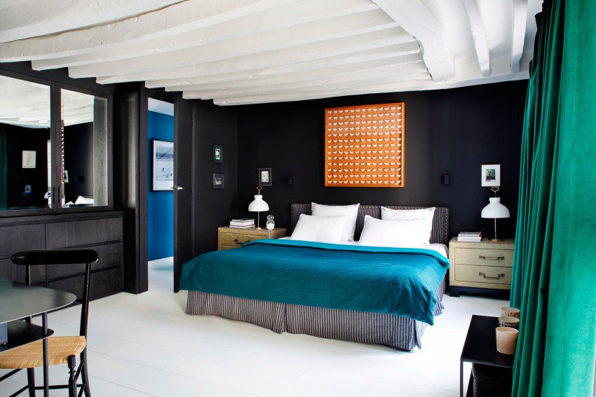 Picture Of eye catchy black and white apartment with bold accents  12