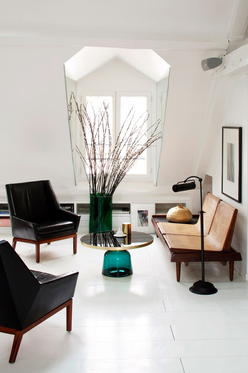 Picture Of eye catchy black and white apartment with bold accents  4