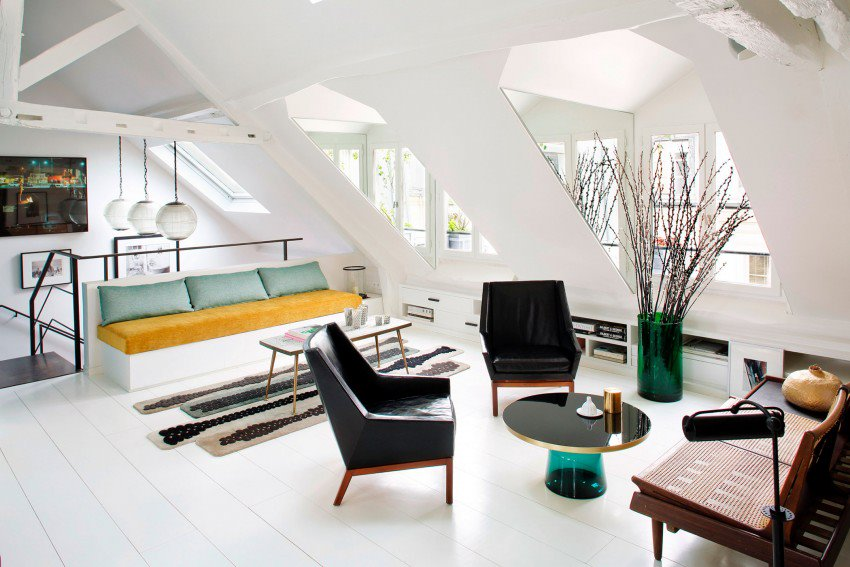 Picture Of eye catchy black and white apartment with bold accents  5