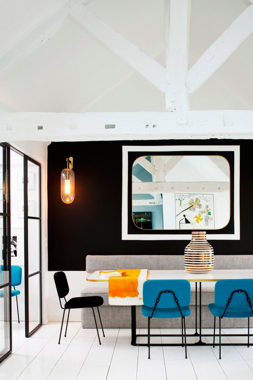 Picture Of eye catchy black and white apartment with bold accents  8