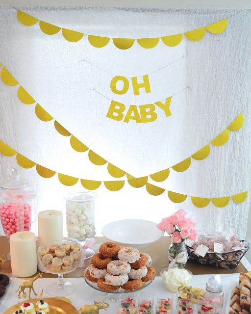 eye-catchy dessert table for a modern baby shower