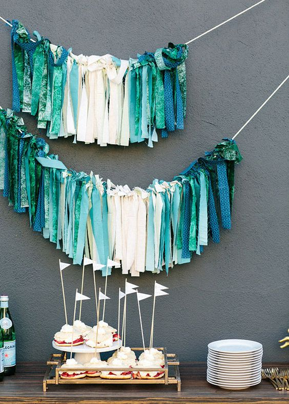 Fabric Straps Decor For A Modern Baby Shower
