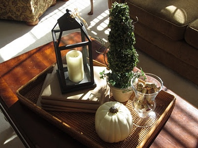 a natural fall display with a candle lantern, a white pumpkin, wine cork and a tree growing