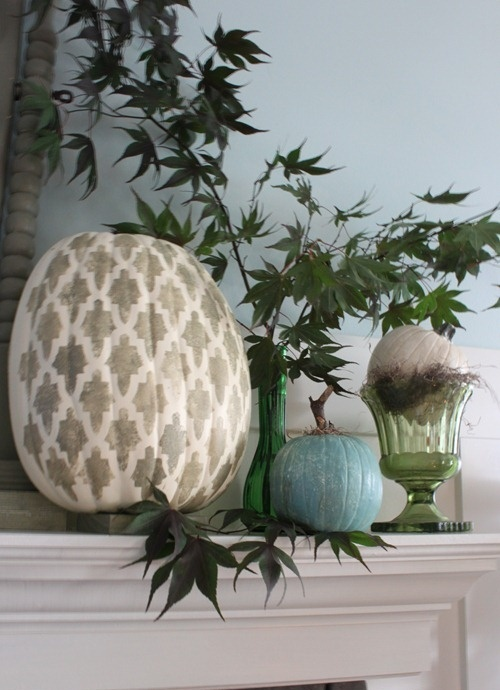 a blue, a blush printed and a grey metallic pumpkin will look non-traditional and add a fall feel to the space