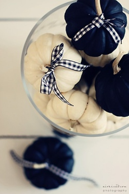 white and navy pumpkins with plaid ribbons can be used in stacks in any glasses and vases or bowls