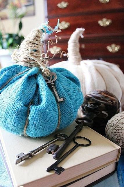 blue and white fabric pumpkins with twine and vintage keys are bright and easy shabby chic decorations for the fall
