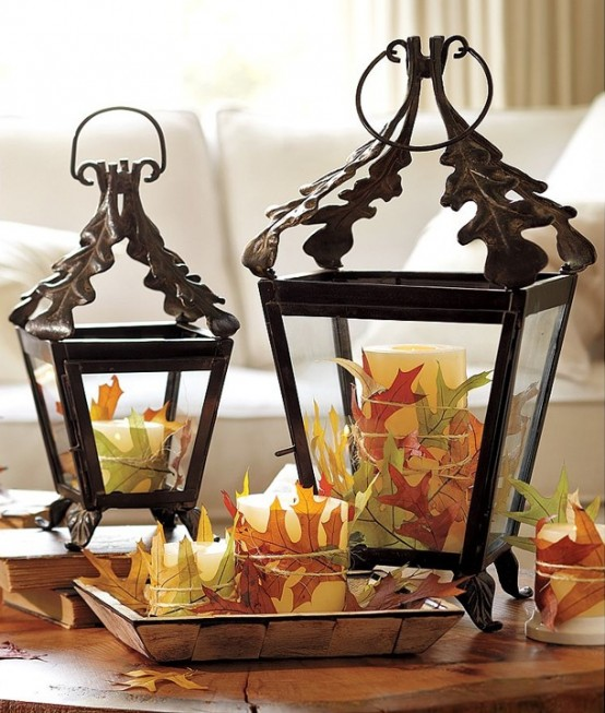 Cover several candles with fallen leaves in different colors. You can attach them by simply using twine. Place these candles into vintage lanterns and you got yourself a beautiful Fall centerpiece.
