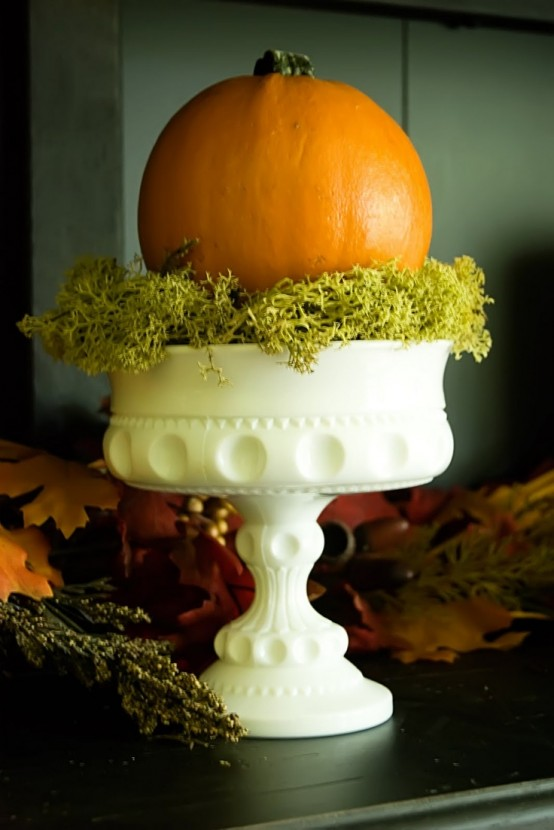 a natural pumpkin on a vintage white stnd and with moss is a beautiful vintage-inspired decoration for the fall