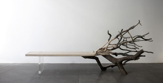 Fall Tree Bench From Glass And A Real Oak Tree