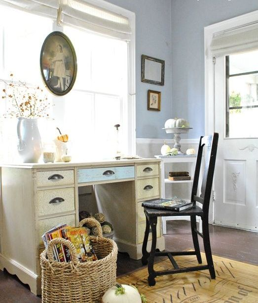 Work In Coziness 20 Farmhouse Home Office Décor Ideas  ~ 150243_office decorating ideas home