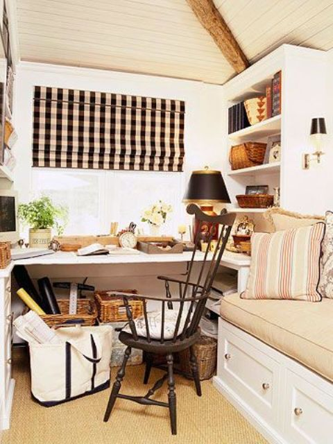 Work In Coziness: 20 Farmhouse Home Office Décor Ideas ...