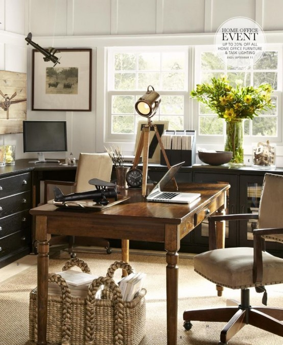 Work in coziness 20 farmhouse home office d cor ideas digsdigs Home ideas