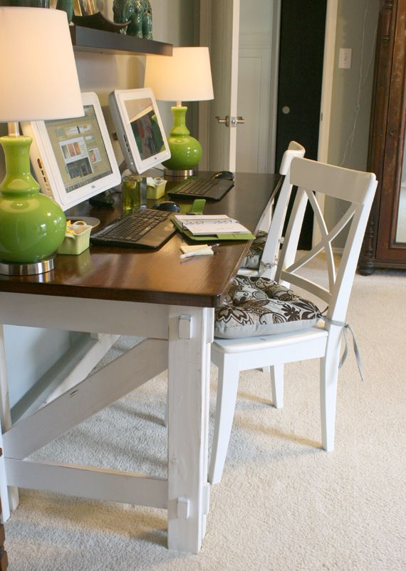Work in coziness 20 farmhouse home office d cor ideas Diy home office desk plans