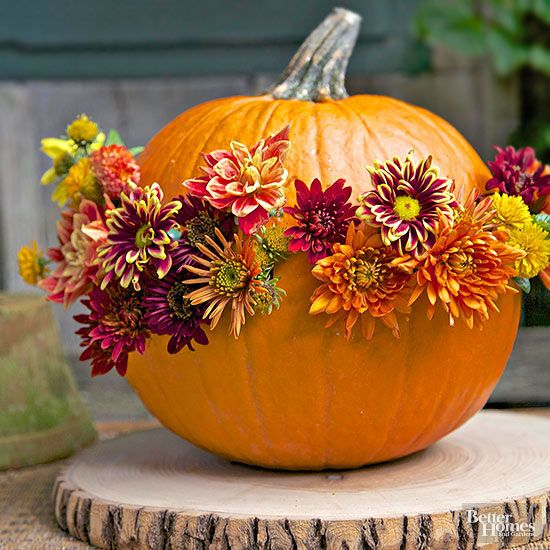 a natural pumpkin with bright fall blooms inserted for decor is a stylish fall centerpiece idea to rock