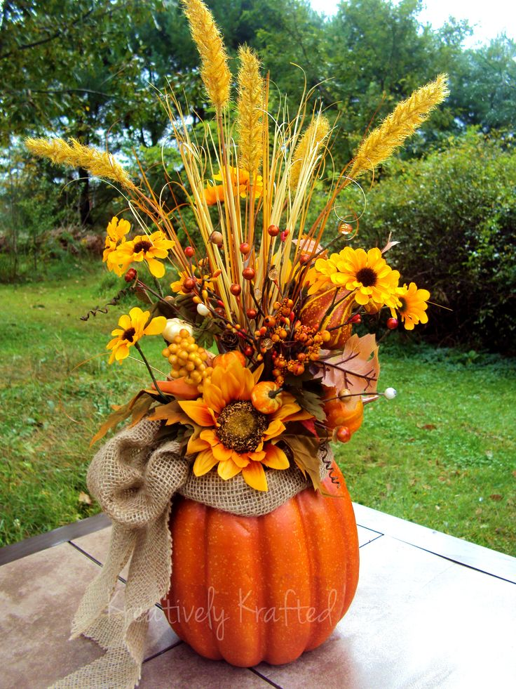 34 faux flower fall arrangements for indoors and outdoors Flower painted pumpkins